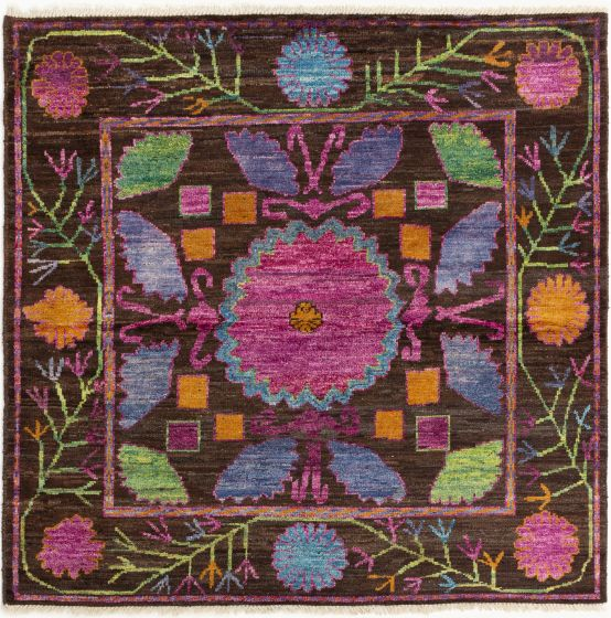 Bordered  Traditional Brown Area rug Square Indian Hand-knotted 280691