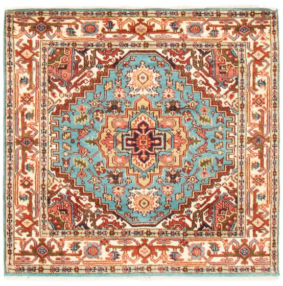 Bordered  Traditional Green Area rug Square Indian Hand-knotted 361796