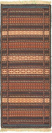 Bordered  Stripes Blue Runner rug 6-ft-runner Turkish Flat-weave 334956