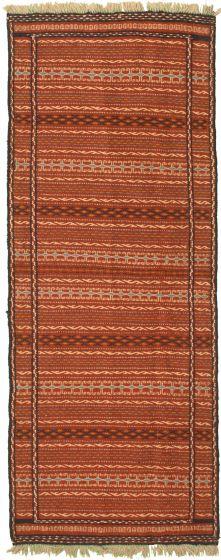 Bordered  Stripes Brown Runner rug 6-ft-runner Turkish Flat-weave 334977