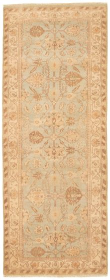 Bordered  Traditional Blue Runner rug 8-ft-runner Pakistani Hand-knotted 336059