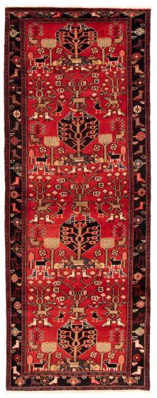 Bordered  Tribal Red Runner rug 10-ft-runner Turkish Hand-knotted 353558