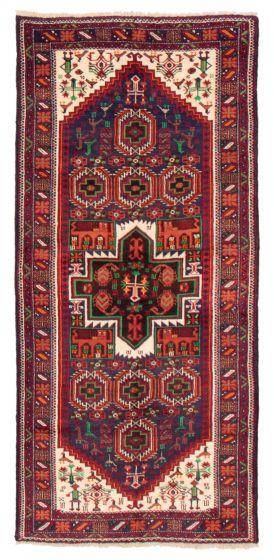 Bordered  Tribal Blue Runner rug 8-ft-runner Afghan Hand-knotted 358549