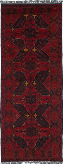 Geometric  Tribal Red Runner rug 7-ft-runner Afghan Hand-knotted 236020