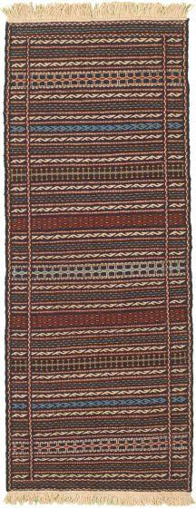 Bordered  Stripes Blue Runner rug 6-ft-runner Turkish Flat-weave 334967