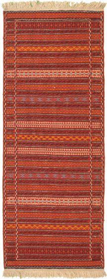 Bordered  Stripes Red Runner rug 7-ft-runner Turkish Flat-weave 334972