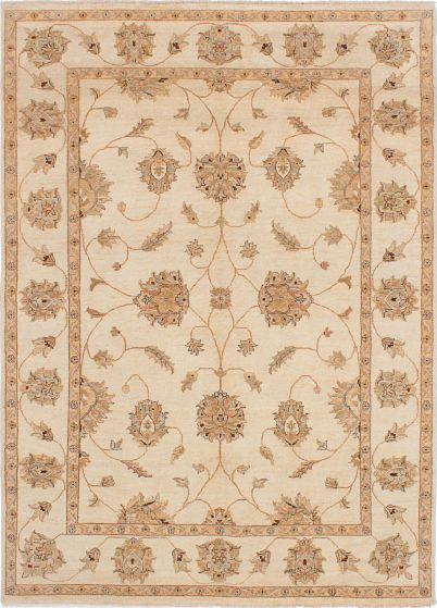 Traditional Ivory Area rug 6x9 Indian Hand-knotted 223847