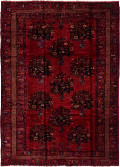 Bordered  Tribal Red Area rug 6x9 Afghan Hand-knotted 278399