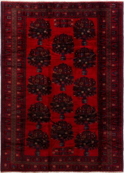 Bordered  Tribal Red Area rug 6x9 Afghan Hand-knotted 280216