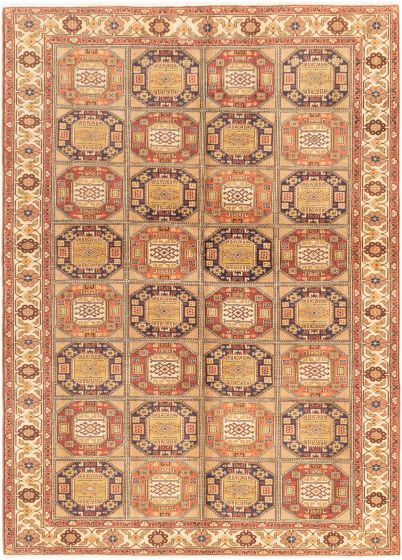 Bordered  Geometric Brown Area rug 6x9 Turkish Hand-knotted 280884