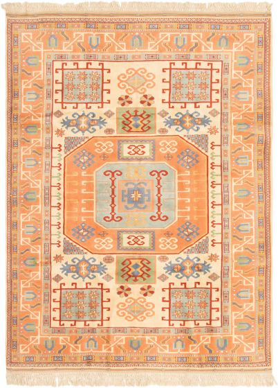 Bordered  Traditional Pink Area rug 6x9 Turkish Hand-knotted 293200