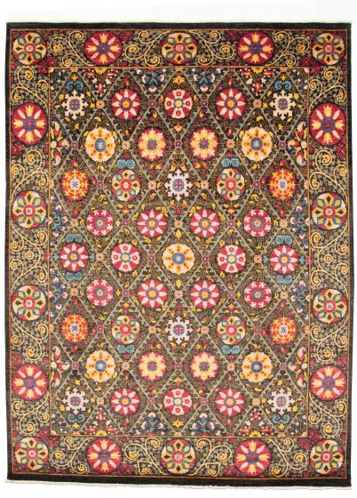 Bordered  Transitional Black Area rug 8x10 Pakistani Hand-knotted 311027