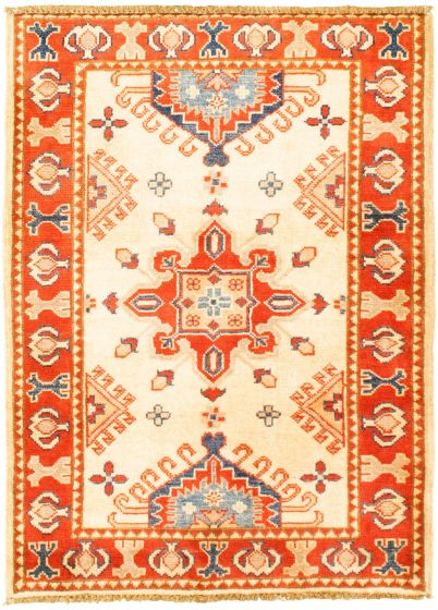 Bordered  Traditional Ivory Area rug 3x5 Afghan Hand-knotted 330261