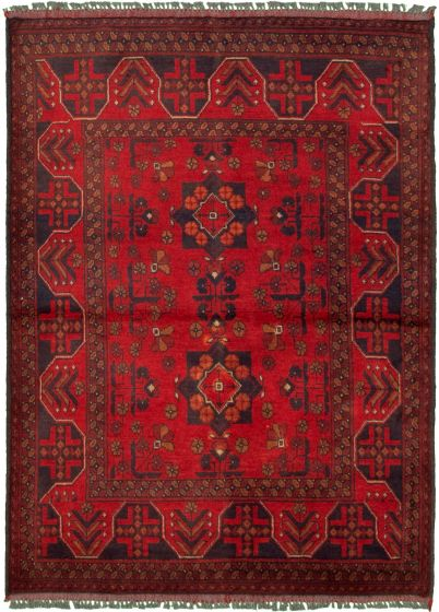 Bordered  Tribal Red Area rug 3x5 Afghan Hand-knotted 330286