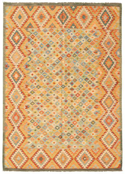 Bordered  Geometric Multi Area rug 6x9 Turkish Flat-weave 330660