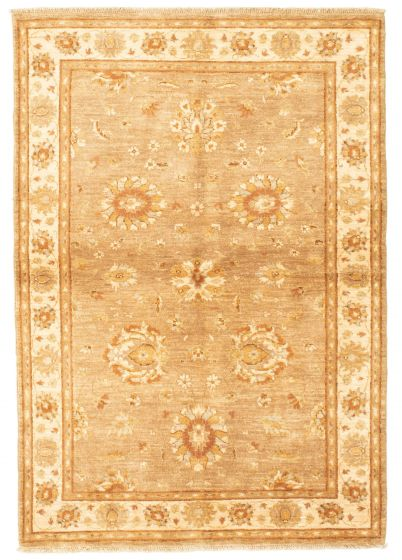 Bordered  Traditional Brown Area rug 3x5 Afghan Hand-knotted 331298