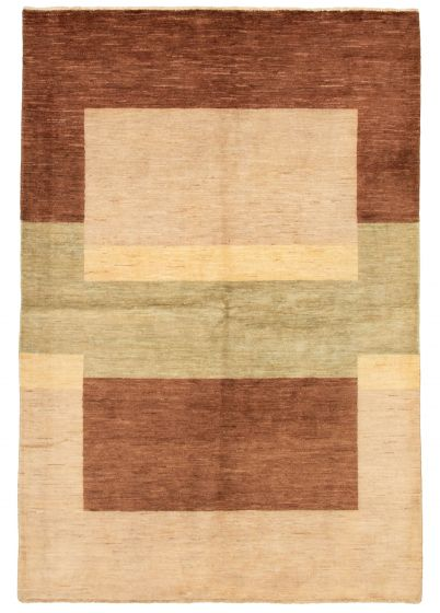 Casual  Transitional Brown Area rug 5x8 Pakistani Hand-knotted 331522