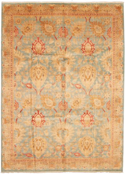 Bordered  Traditional Blue Area rug 9x12 Pakistani Hand-knotted 337648