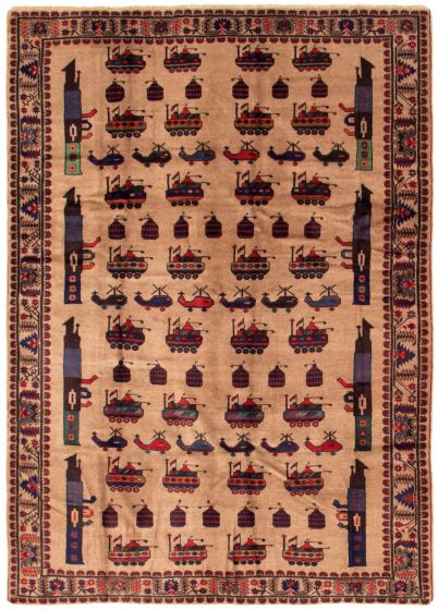 Bordered  Tribal Brown Area rug 6x9 Afghan Hand-knotted 342393