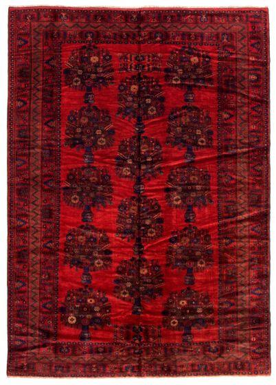 Bordered  Tribal Red Area rug 6x9 Afghan Hand-knotted 348549