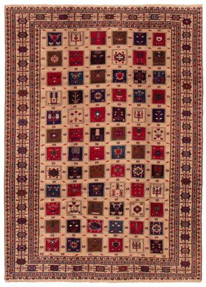 Bordered  Tribal Brown Area rug 6x9 Afghan Hand-knotted 357385