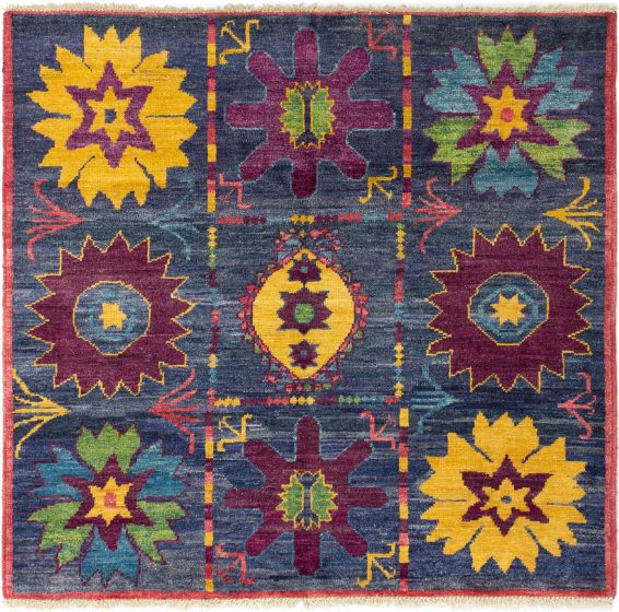 Bordered  Transitional Blue Area rug Square Indian Hand-knotted 280279