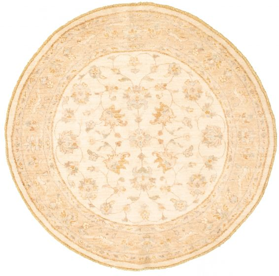 Bordered  Traditional Ivory Area rug Round Afghan Hand-knotted 336625