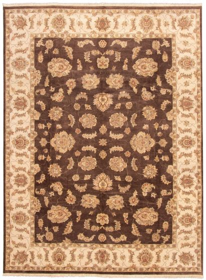Traditional Brown Area rug 9x12 Indian Hand-knotted 164620