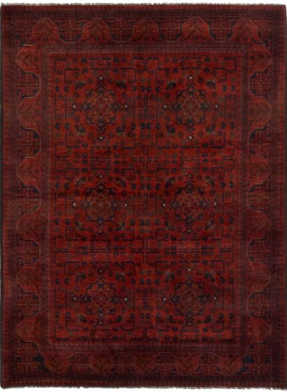 GeometricTribal Red Area rug 4x6 Afghan Hand-knotted 204367