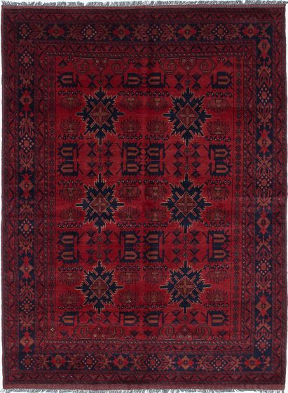 Traditional Red Area rug 5x8 Afghan Hand-knotted 222320