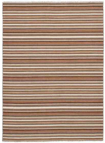 Bohemian  Stripes Brown Area rug 4x6 Indian Flat-weave 259702
