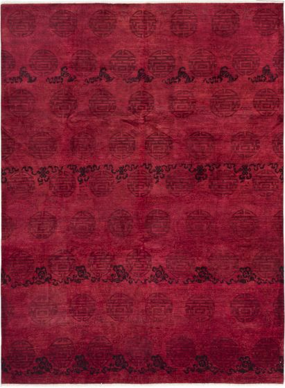 Casual  Transitional Red Area rug 9x12 Indian Hand-knotted 280569