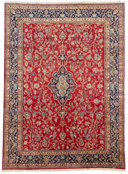 Bordered  Traditional Red Area rug 9x12 Persian Hand-knotted 310236