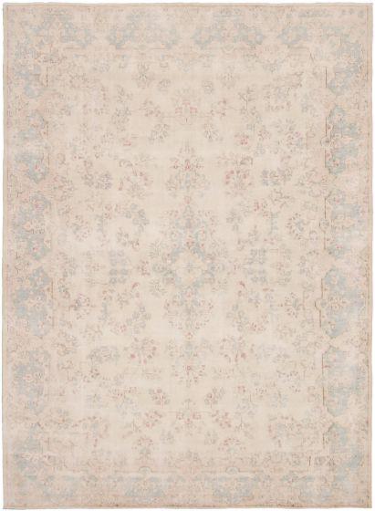Bordered  Vintage Ivory Area rug 6x9 Pakistani Hand-knotted 320024