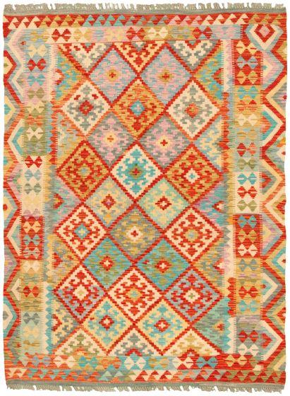 Bordered  Geometric Multi Area rug 4x6 Turkish Flat-weave 330247