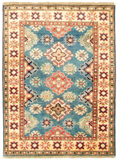Bordered  Traditional Blue Area rug 3x5 Afghan Hand-knotted 330299