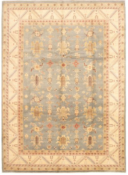 Bordered  Traditional Grey Area rug 9x12 Indian Hand-knotted 330343