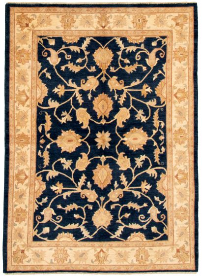 Bordered  Traditional Blue Area rug 5x8 Afghan Hand-knotted 331487