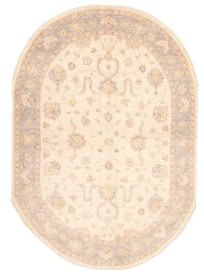 Bordered  Traditional Ivory Area rug 5x8 Pakistani Hand-knotted 331591