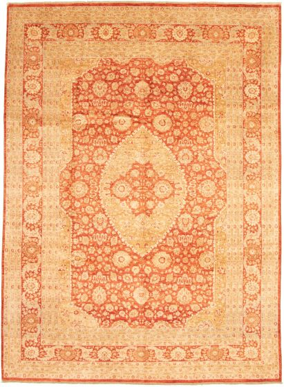 Bordered  Traditional Brown Area rug 8x10 Pakistani Hand-knotted 337608