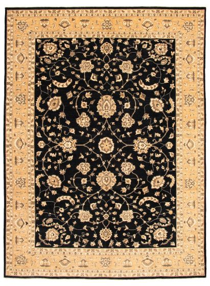 Bordered  Traditional Black Area rug 10x14 Afghan Hand-knotted 338398