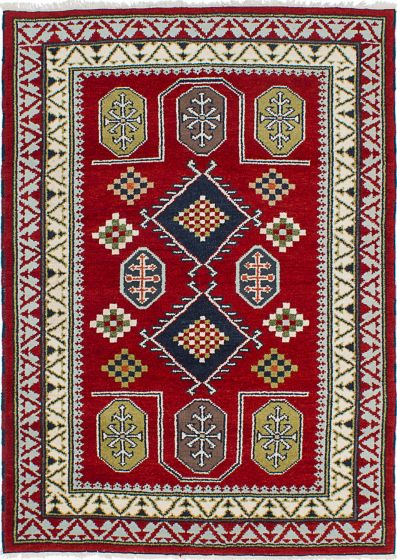 Geometric  Traditional Red Area rug 4x6 Indian Hand-knotted 233537