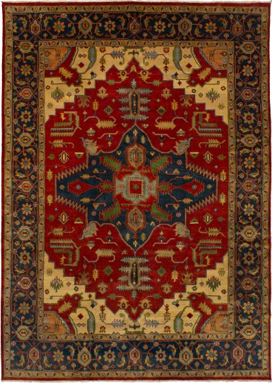 Bohemian  Traditional Red Area rug 10x14 Indian Hand-knotted 271145