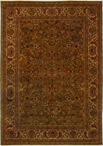 Bordered  Traditional Green Area rug 10x14 Indian Hand-knotted 271919