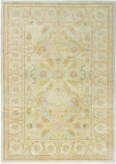 Bordered  Traditional Ivory Area rug 5x8 Turkish Hand-knotted 280742