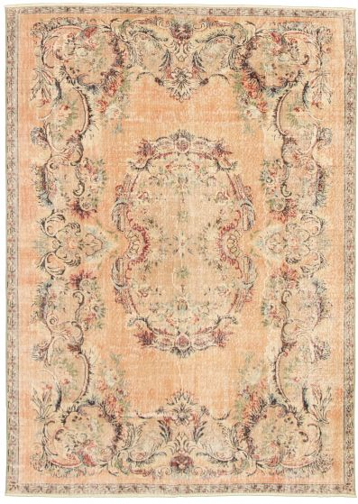 Bordered  Vintage Brown Area rug 6x9 Turkish Hand-knotted 328093