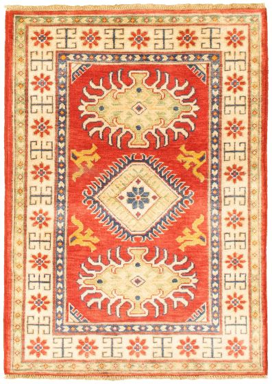 Bordered  Traditional Red Area rug 3x5 Afghan Hand-knotted 330175