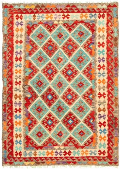 Bordered  Geometric Red Area rug 4x6 Turkish Flat-weave 330248