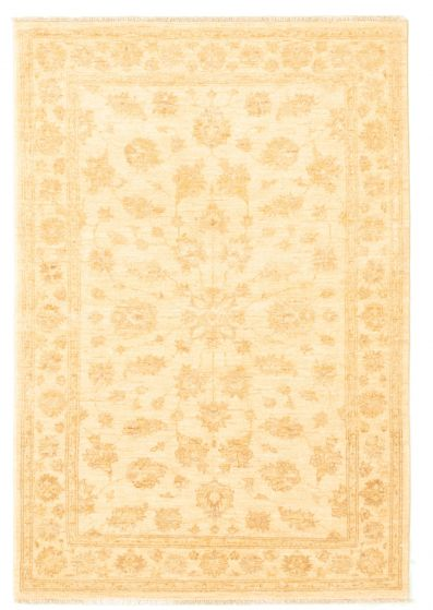 Bordered  Traditional Ivory Area rug 3x5 Afghan Hand-knotted 331533