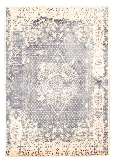 Transitional Grey Area rug 4x6 Indian Hand Loomed 344781